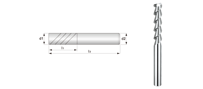 Long-flute, 2-flute, Smooth Surface End Mills (for Aluminum Alloys Processing)