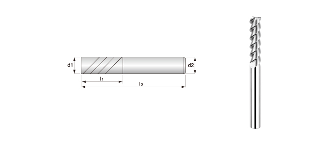 Long-flute, 3-flute, Smooth Surface End Mills (for Aluminum Alloys Processing)