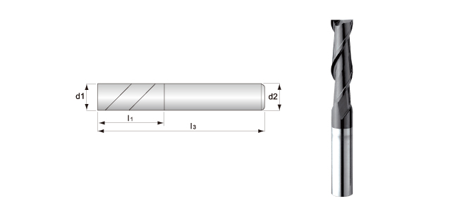 Long-flute, 2-flute, Square End Mills